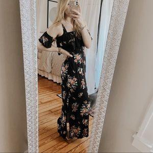 NoBo Cold Shoulder Black Floral Maxi Dress